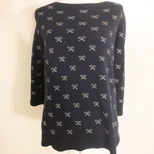 Ann Taylor Navy Blue Bow Sweater Size XL